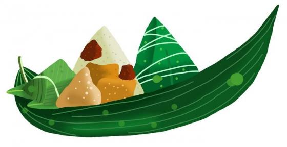 手绘风格粽叶做成的小船上的粽子端午节图片免抠素材