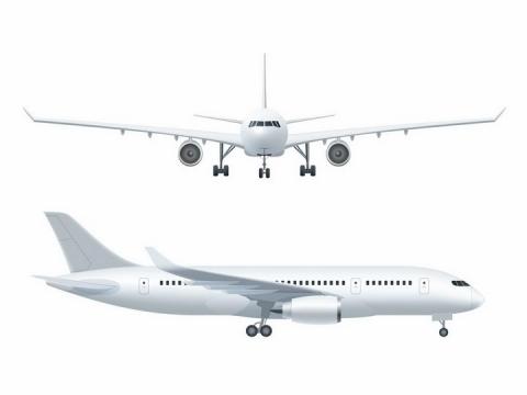 一架白色大型客机飞机正面和侧面图png图片免抠eps矢量素材