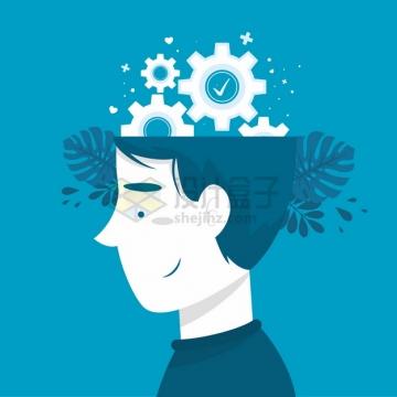 打开的大脑中的齿轮抽象插画png图片素材