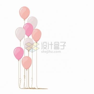 粉色气球拖着长长的绳子扁平插画png图片素材