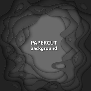 剪纸叠加风格深灰色边框装饰图片免抠素材