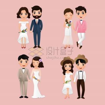 结婚拍婚纱照的卡通新婚夫妇婚礼png图片免抠矢量素材