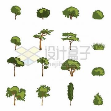 16款绿色参天大树和灌木丛草丛448759png图片素材
