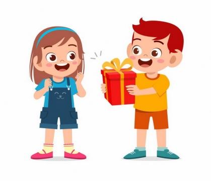 卡通小男孩正在送给女孩礼物png图片免抠矢量素材