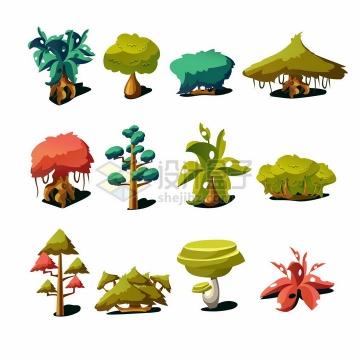 16款卡通树木游戏大树png图片免抠矢量素材