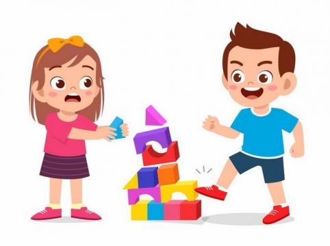 调皮的卡通小男孩弄坏了女孩的积木玩具png图片免抠矢量素材