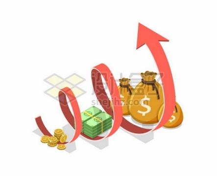 金币钞票钱袋子和螺旋上升的红色箭头250627png图片素材
