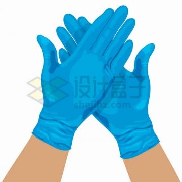 戴手上的医用手套交叉在一起png图片素材