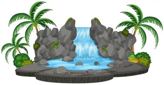 卡通风格椰子树和瀑布自然景观图片免抠矢量素材