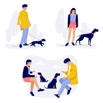 扁平插画风格遛狗的年轻人免抠矢量图素材