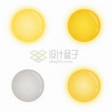 4款黄色灰色发光卡通月亮png图片素材