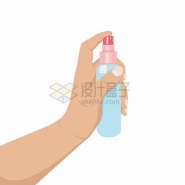 一只手拿着消毒剂喷雾剂喷洒消毒液png图片素材