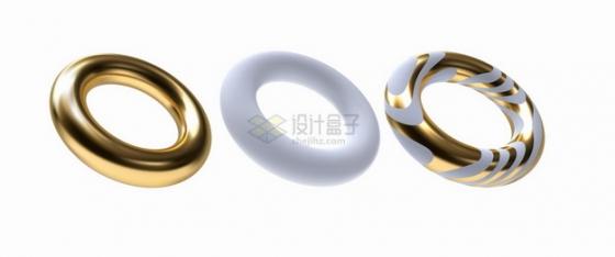 逼真的金色金属光泽和白色白玉圆环形状png图片素材