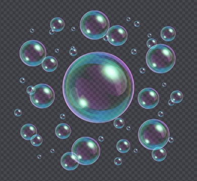 彩色气泡肥皂泡漂浮着的泡泡免抠矢量图素材