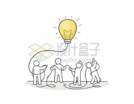 线条小人儿拿着电线和发光的线条电灯泡663522png矢量图片素材