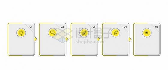 五款黄色线条边框PPT文本框信息框623144图片免抠矢量素材