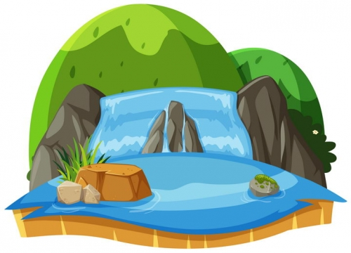 卡通风格青青的山包和瀑布池塘自然景观图片免抠矢量素材