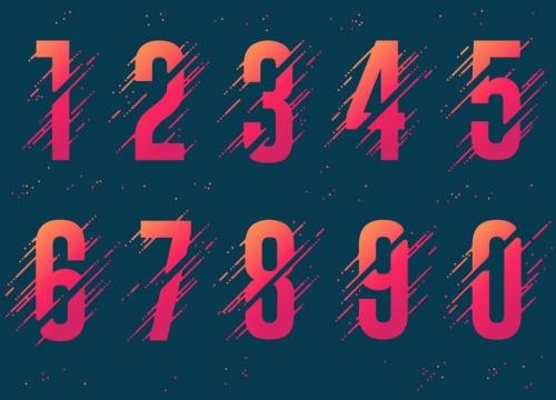 断点风格橙色红色渐变色数字艺术字体图片免抠矢量素材