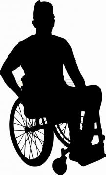 坐轮椅的残疾人剪影png图片素材33408968