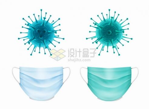 3D立体新型冠状病毒和淡蓝色一次性医用口罩png图片素材