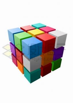 彩色立方体矩阵魔方png图片免抠矢量素材