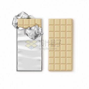 撒开锡纸包装的白色巧克力588505png图片素材
