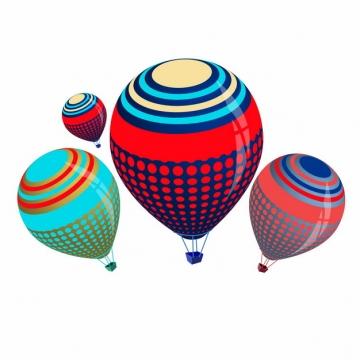 4款彩色斑点条纹热气球127426png图片素材