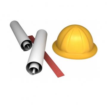 3D风格设计图纸直尺和黄色安全帽371325png图片免抠素材