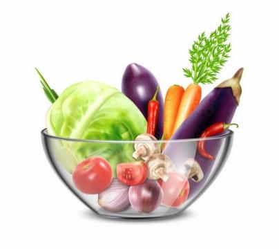 半透明容器中的包菜茄子胡萝卜西红柿香菇洋葱等美味蔬菜沙拉png图片免抠eps矢量素材