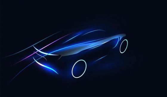 唯美风格光线组成的跑车汽车背景图