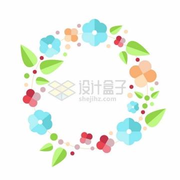 简约扁平化花朵绿叶组成的花环png图片免抠矢量素材