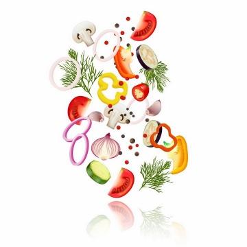 抛到半空的香菇洋葱圈番茄辣椒等切片蔬菜沙拉png图片免抠eps矢量素材