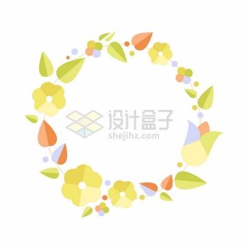 淡黄色淡绿色花朵绿叶组成的花环装饰png图片免抠矢量素材