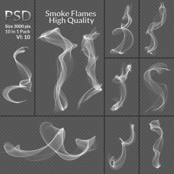 10款青烟缕缕白色烟雾效果图片免抠素材