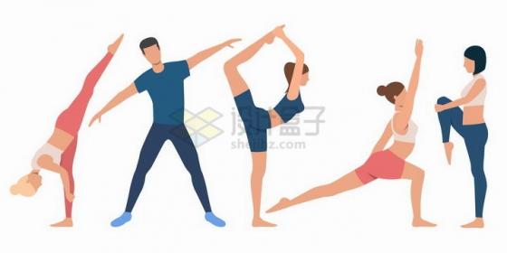 5款扁平化风格正在做瑜伽的男人和女人png图片免抠矢量素材