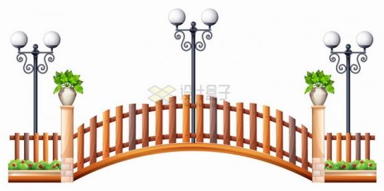 公园里的木桥和木栅栏以及路灯png图片免抠eps矢量素材
