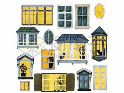 各种复古窗户水彩画433892png免抠图片素材