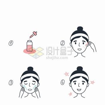 面部按摩手法面部精华素使用步骤插画png图片免抠矢量素材
