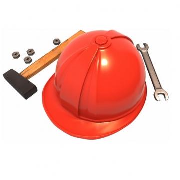 榔头扳手和红色安全帽769048png图片免抠素材