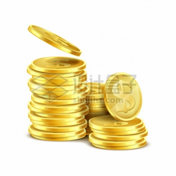 堆放在一起的美元金币png图片素材