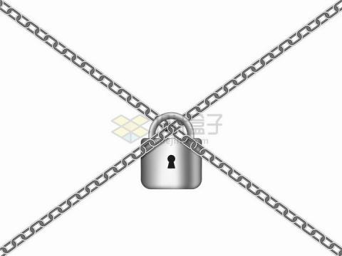 金属银色挂锁将铁链锁起来了png图片免抠矢量素材