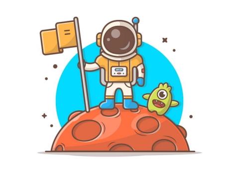 可爱卡通占领星球的宇航员宇宙太空探索图片免抠素材