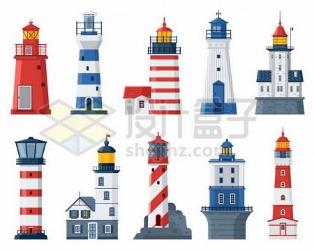 10款各种造型的灯塔卡通建筑824305矢量图片免抠素材