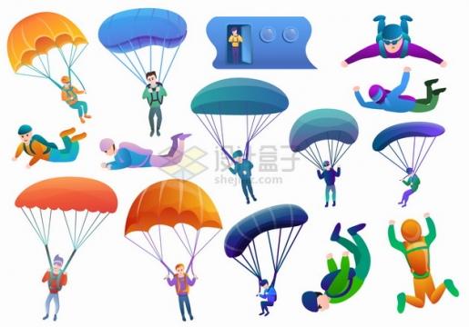 各种打开降落伞跳伞极限运动卡通插画png图片素材
