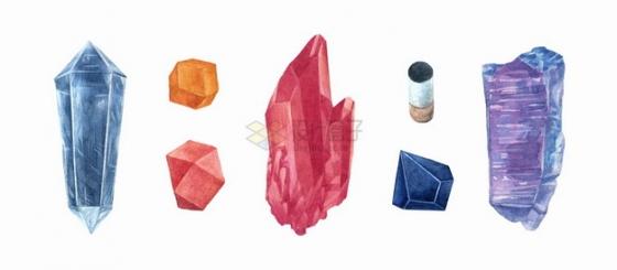 各种紫水晶红水晶钻石宝石水彩插画png图片素材