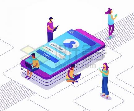 紫色手机上的登录界面和周围使用电脑手机的年轻人png图片免抠矢量素材