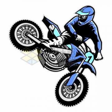 漫画风格跳起来的越野摩托车手png图片免抠矢量素材