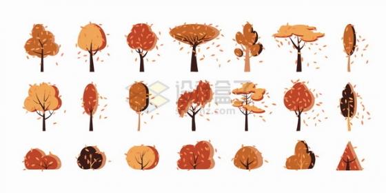 21款秋天飘着落叶的卡通黄色大树png图片素材