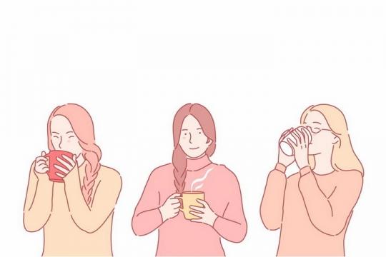 3款手绘风格天冷喝热水的美女png图片免抠素材