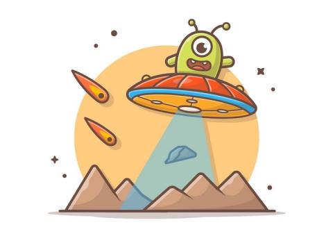 可爱卡通坐着飞碟的外星人宇宙太空探索图片免抠素材